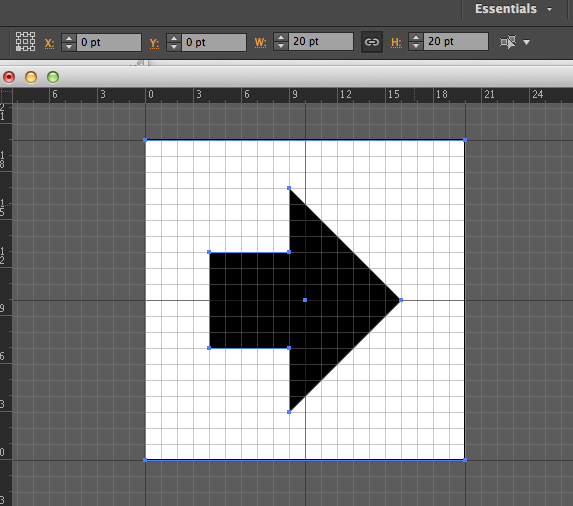 Icon drawn in AI, with a 20pt by 20pt box drawn around it as a bounding box