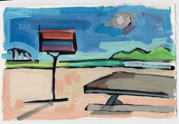 Painting of Jones Beach, park bench and grill