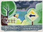 thunder bay road canada gouache painting